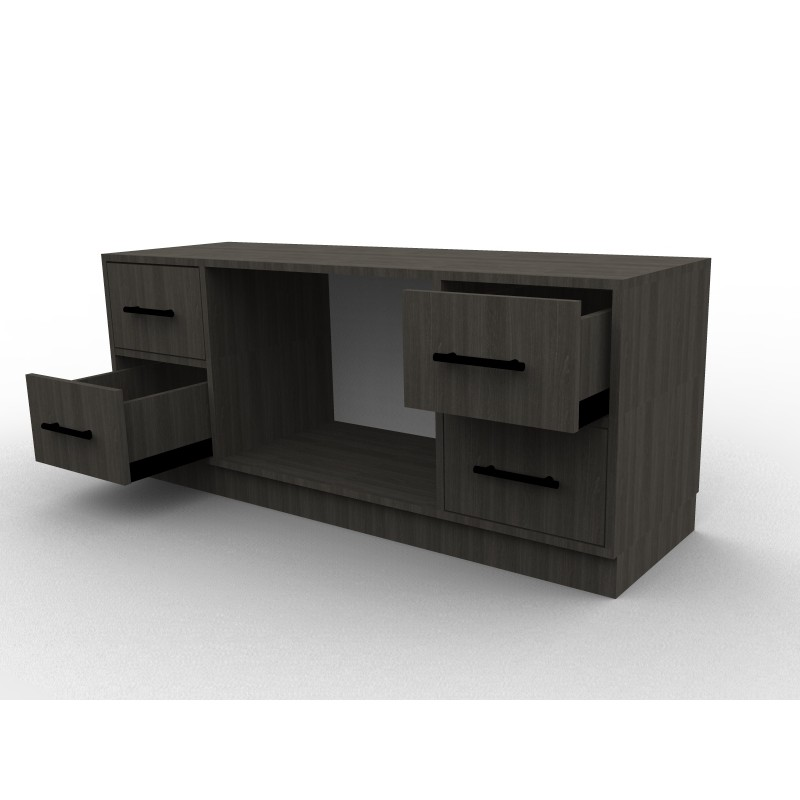 meuble tv finition bois noir sur mesure. Black Bedroom Furniture Sets. Home Design Ideas