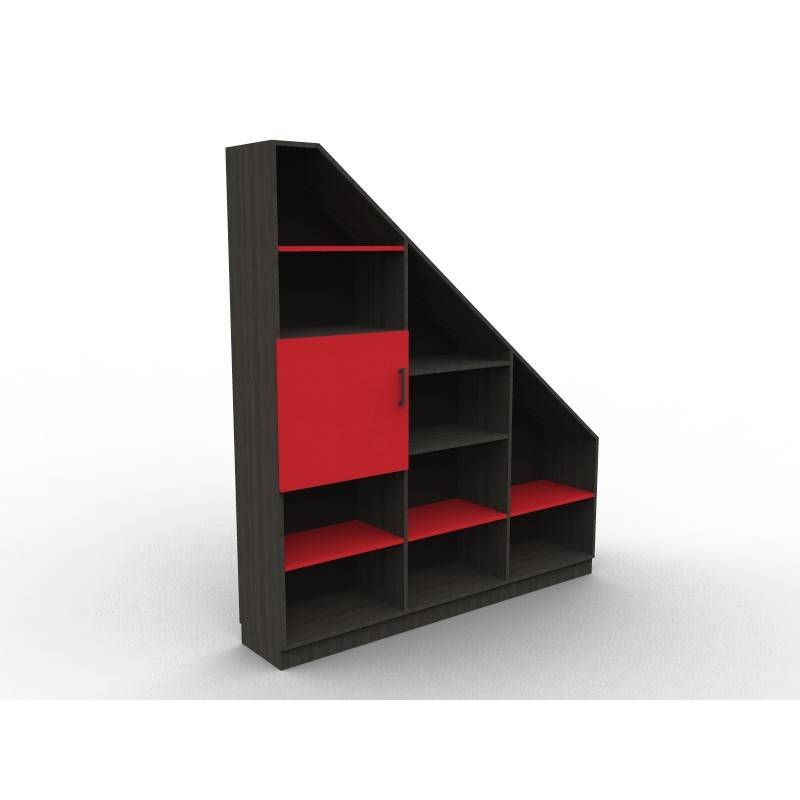 biblioth que sous pente noire et rouge sur mesure. Black Bedroom Furniture Sets. Home Design Ideas