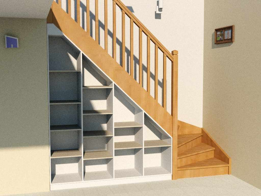 Am nagement sous escalier quart tournant for Placards sous escalier