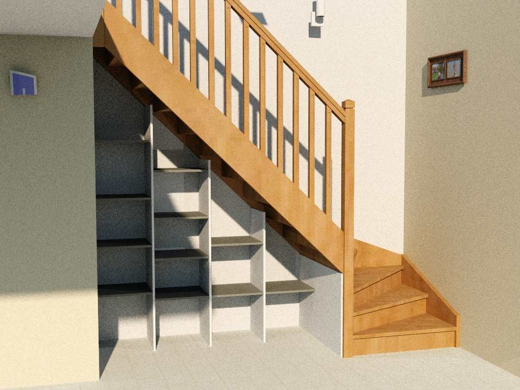 Am nagement sous escalier quart tournant for Amenagement escalier interieur